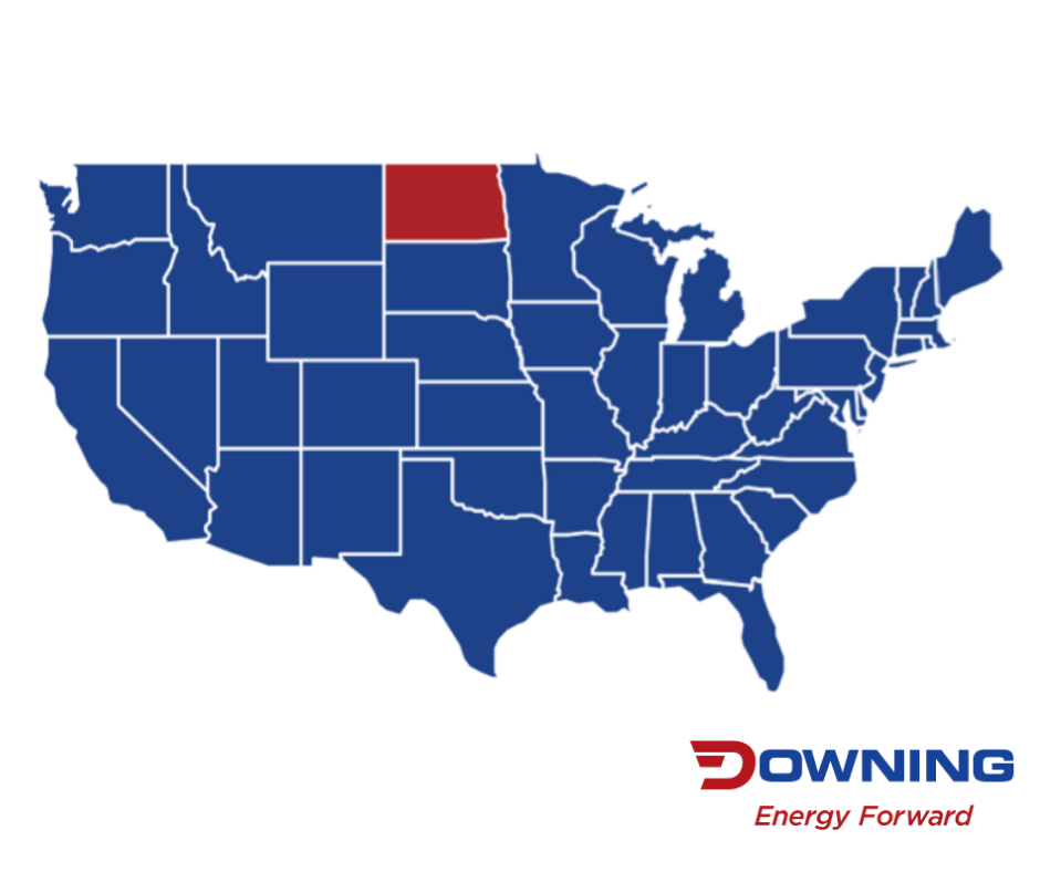 Map of the continental US in Downing blue, with North Dakota highlighted in Downing Red